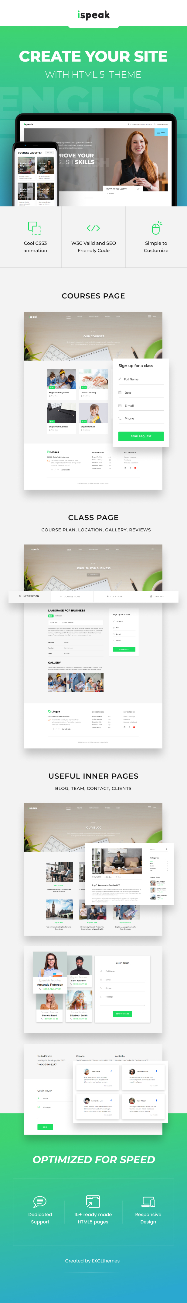 iSpeak - Online Education & Courses HTML Template